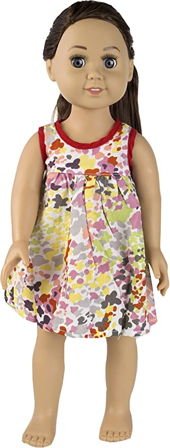 Mix and Match Springfield Collection by Fibre-Craft Fits All 18-Inch Dolls For Ages 4 and Up Fibre Craft SG/_B0060LB2Y6/_US Abstract Floral Dress with Red Piping Detail