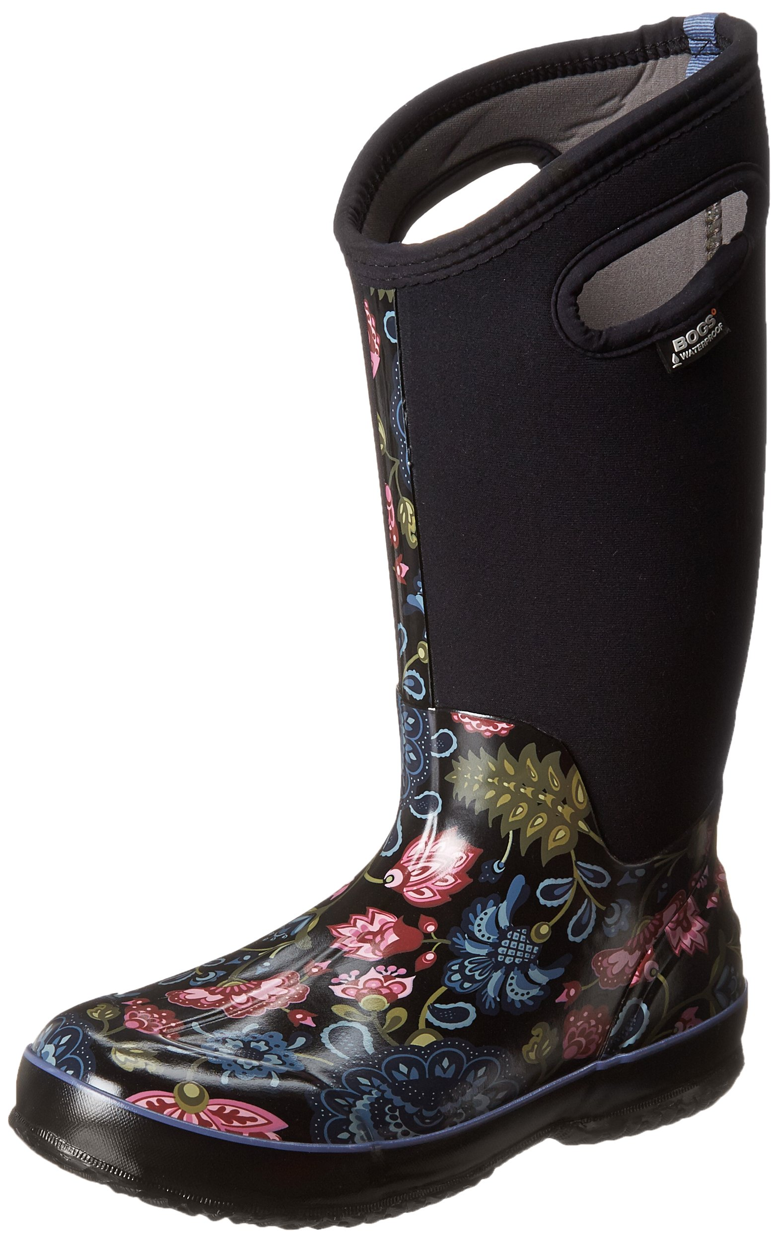 Bogs Women's Classic Tall Winter Blooms Waterproof Insulated Boot, Black Multi, 6 M US