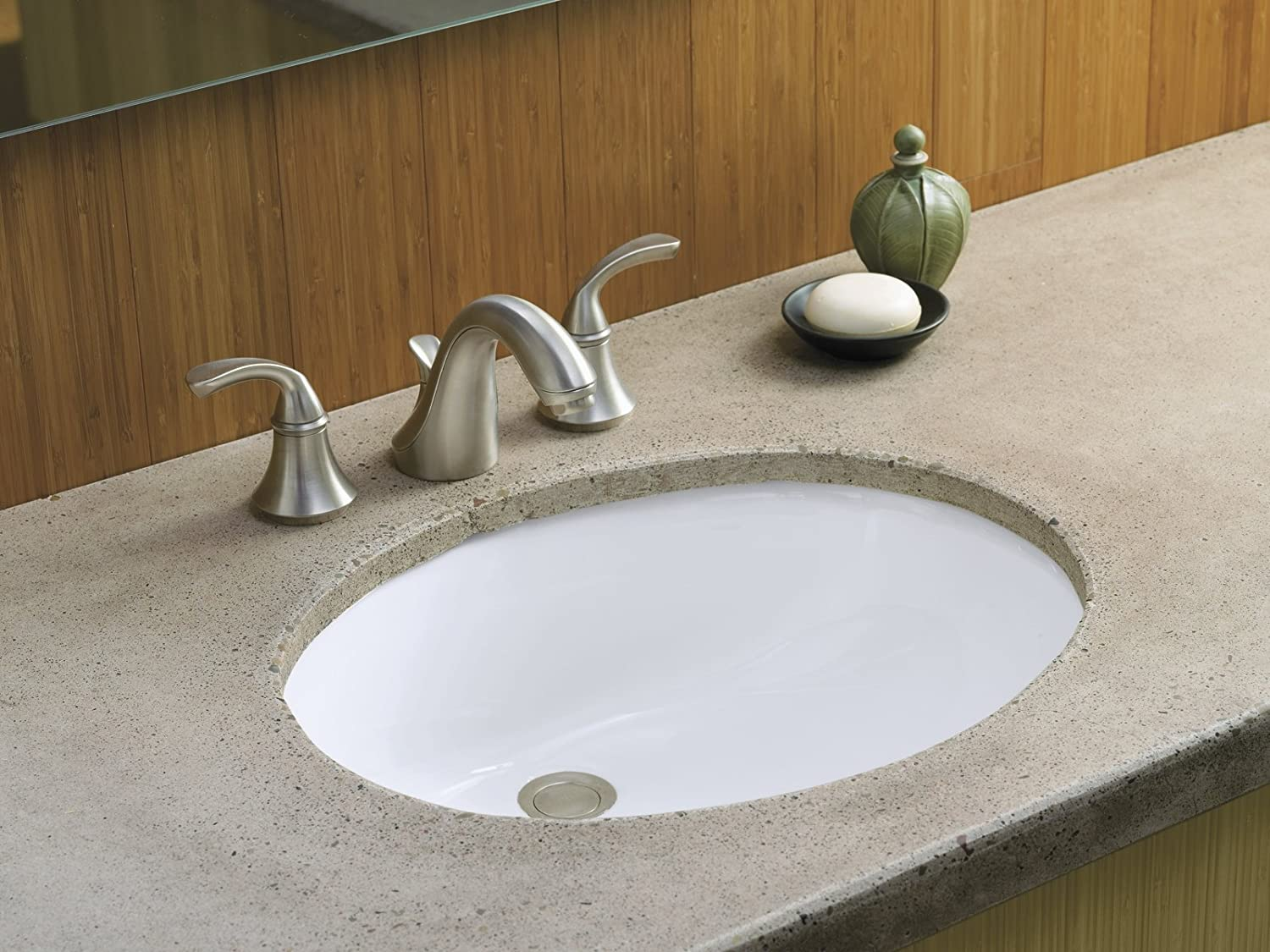 White KOHLER K-2210-0 Caxton Under-Mount Bathroom Sink