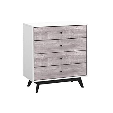 Simple Living Crislana Mid-Century Modern White and Grey Faux Concrete Finish 4-Drawer Chest with Solid Wood Black Legs