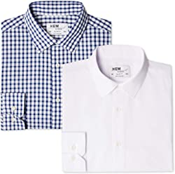 Hem & Seam Men's Slim Fit Checked Formal Shirt, Pack of 2
