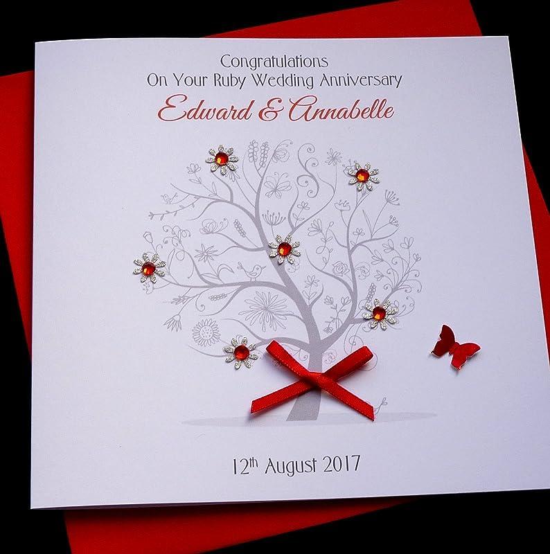 Friends Sister Luxury Personalised Handmade Ruby//40th Wedding Anniversary Card