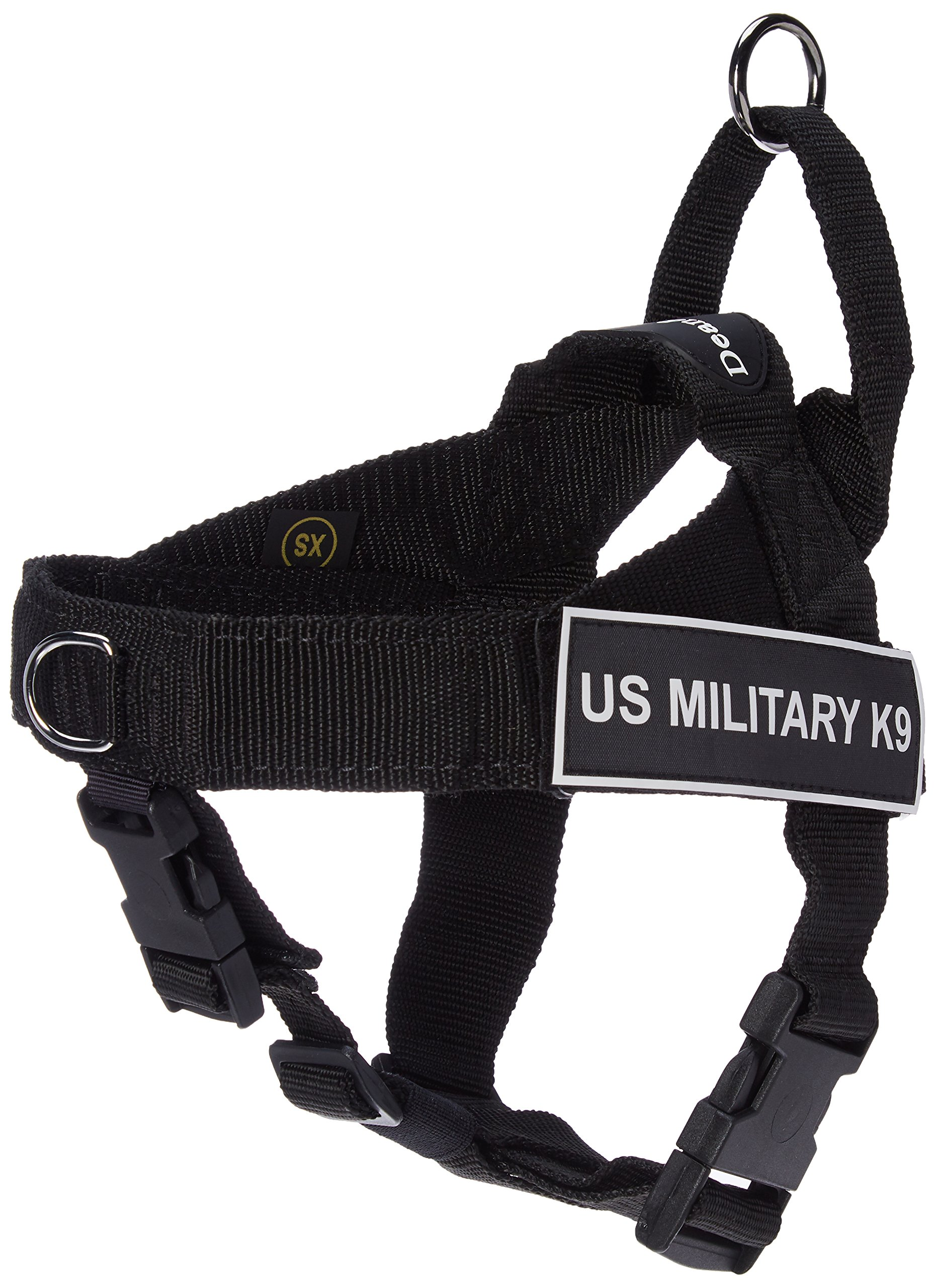 Dean & Tyler Universal No Pull 21-Inch to 25-Inch Dog Harness, X-Small, US Military K9, Black