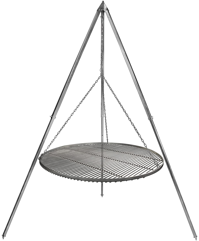 Dreibein Schwenkgrill mit Kurbel H 200 cm Edelstahl Grillrost Ø 70 cm