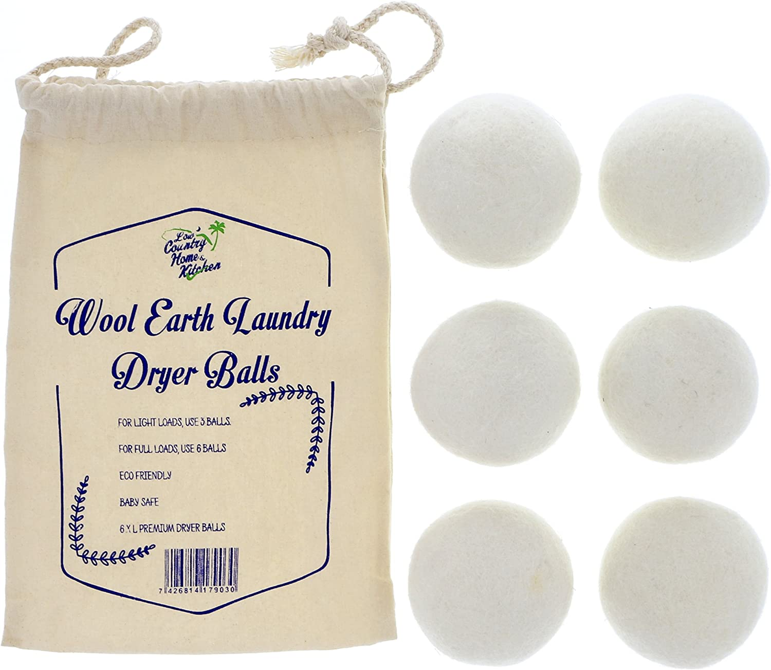 Wool Dryer Balls by Wool Earth XL Premium Reusable Eco Friendly Natural Fabric Softener - Non-Toxic, Hypoallergenic, Baby Safe Laundry Product Gift Set (Pack of 6)