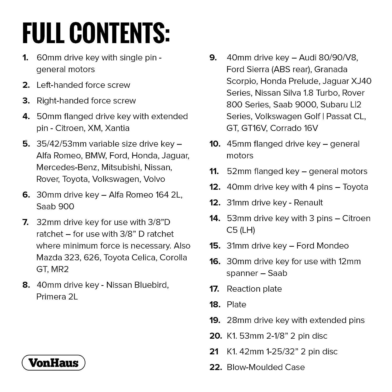 VonHaus Kit Universel Remontage Piston /Étrier de Frein 22 Pi/èces