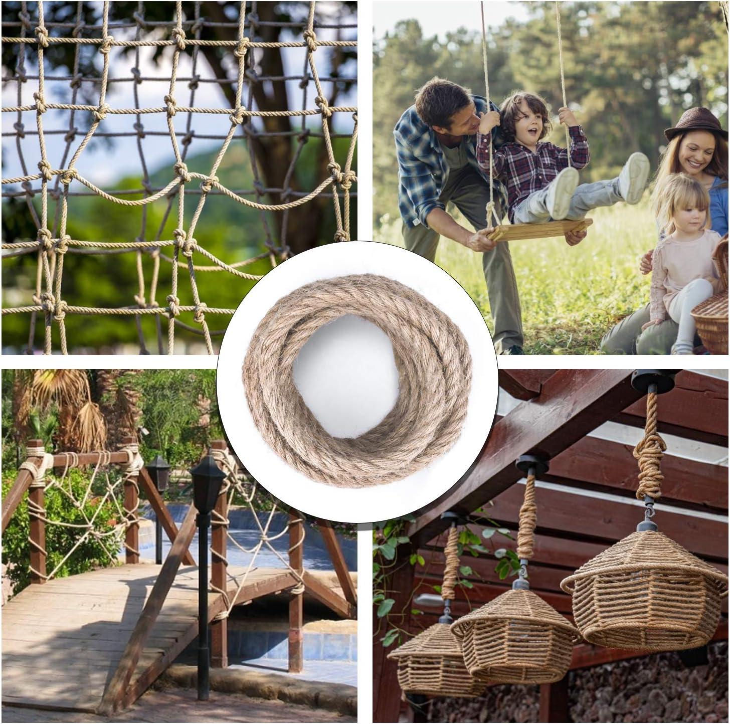 Natural Jute Twine Hemp Rope 12MM Hemp Braided Rope 32 Feet Craft Rope for DIY /& Arts Industrial Packing Materials Gardening Applications 12mm