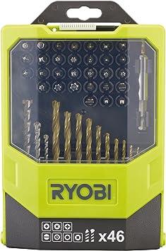 Ryobi RAK46MIX - Juego de brocas para taladro y puntas para destornillador (46 piezas, incluye caja plegable): Amazon.es: Bricolaje y herramientas