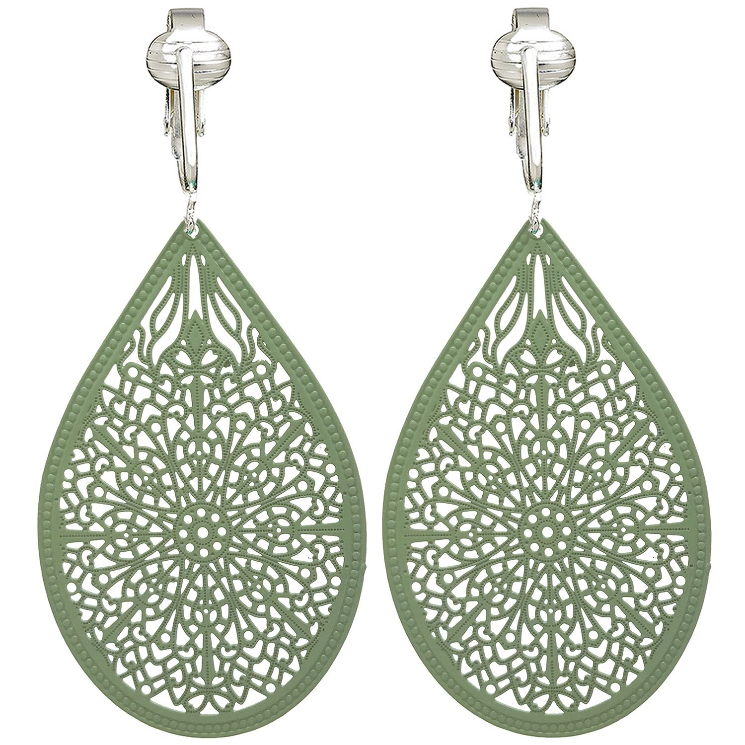 Lovely Victorian Filigree Clip On Earrings for Women & Girls Clip-ons, Lightweight Teardrop Leaf Dangle (Green)