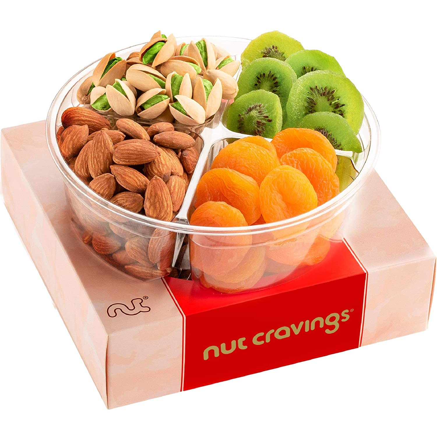 Gourmet Dried Fruit & Nut Gift Basket, Red Box (4 Mix Tray) - Easter Food Arrangement Platter, Care Package Variety, Prime Birthday Assortment, Healthy Kosher Snack Tray for Women, Men, Adults