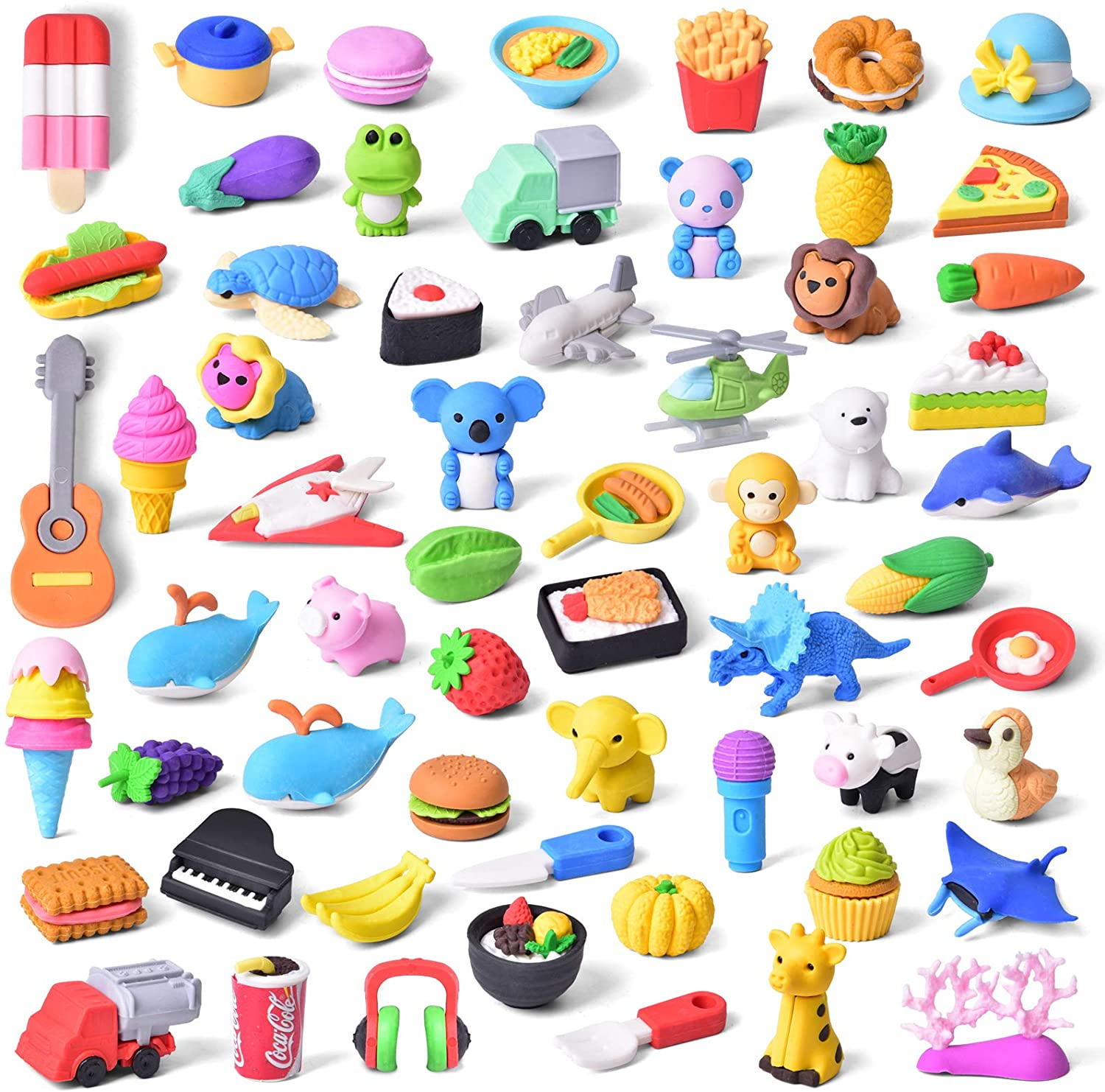 FUN LITTLE TOYS 60 PCs Pencil Erasers Toy Set for Kids Classroom Prizes, Gifts for Kids, Bulk Puzzle Erasers for Party Favors Games Carnivals Gifts School Rewards Novelty Toys Supplies Easter Egg Stuffers