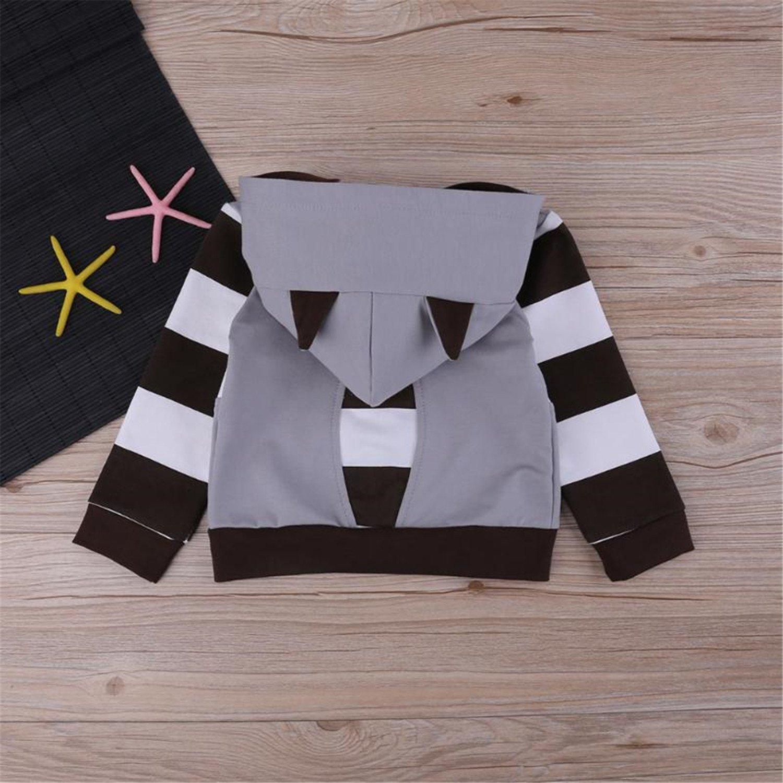 Baqijian Toddler Boys Girls Cartoon Raccoon Hooded Jacket Autumn Kids Striped Coat FCI#