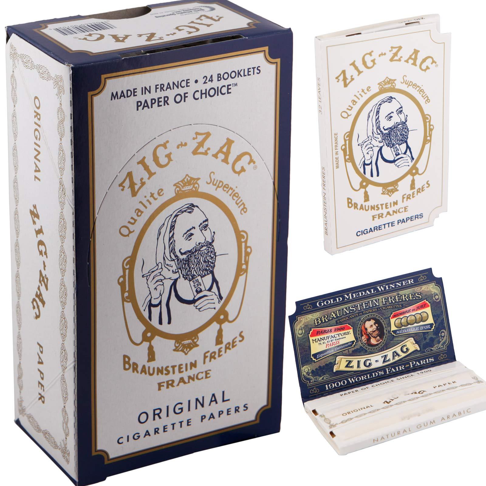 Zig Zag Full Box Cigarette Rolling Paper, Original White by Zig Zag
