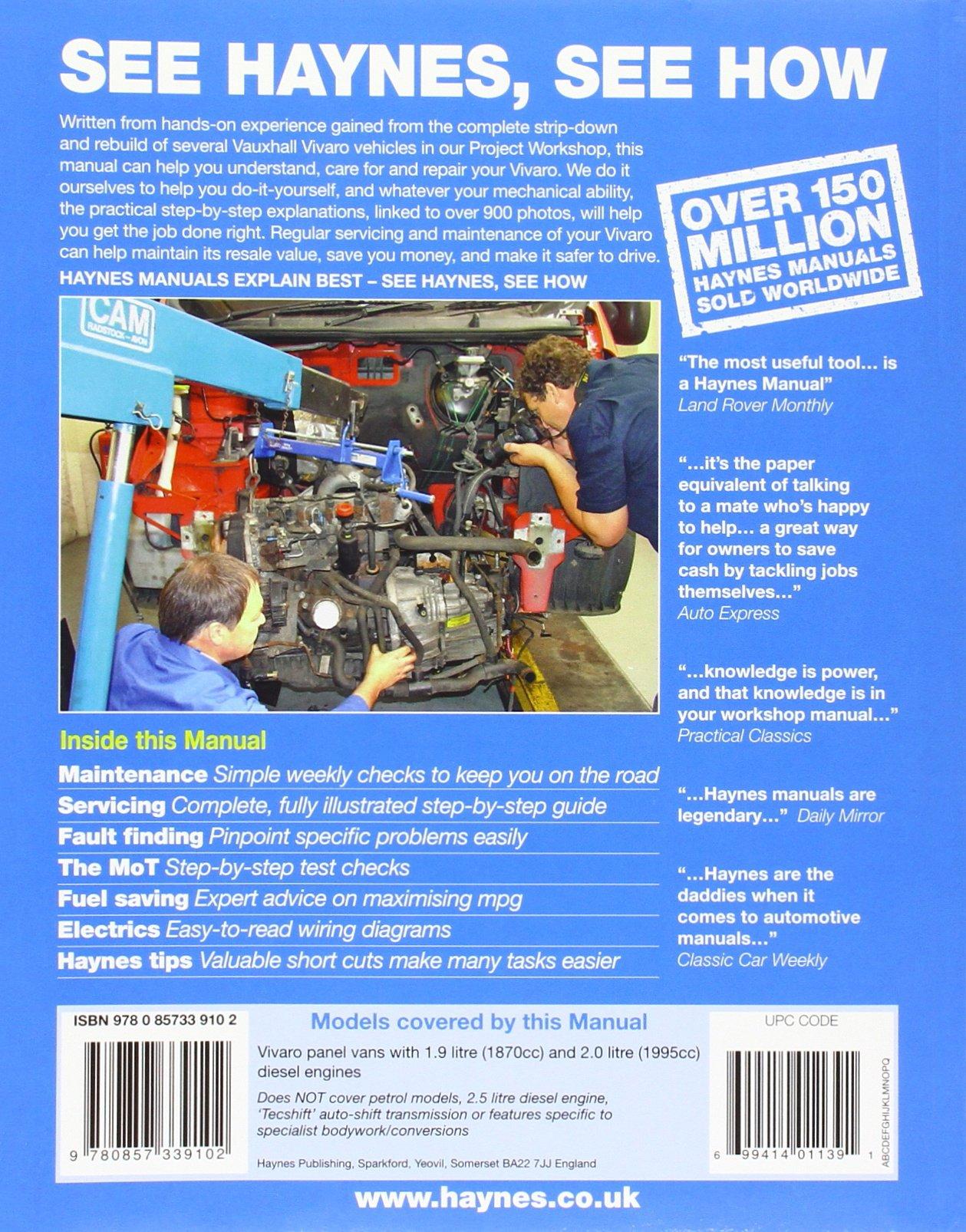 Vauxhall Opel Vivaro Diesel 01 11 Haynes Repair Manual Amazon Wiring Diagram Anon 9780857339102 Books