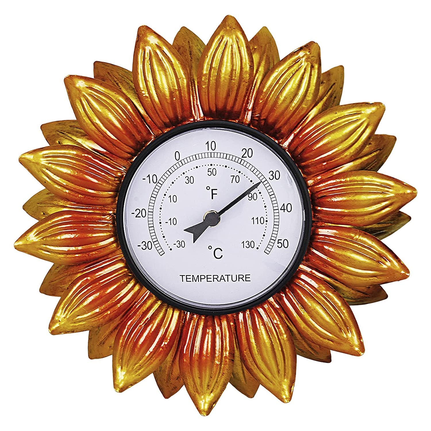 HOBYLUBY 13'' Sunflower Garden Hanging Weather Thermometers Outdoor Indoor Patio Lawn Yard Room Kitchen Greenhouse