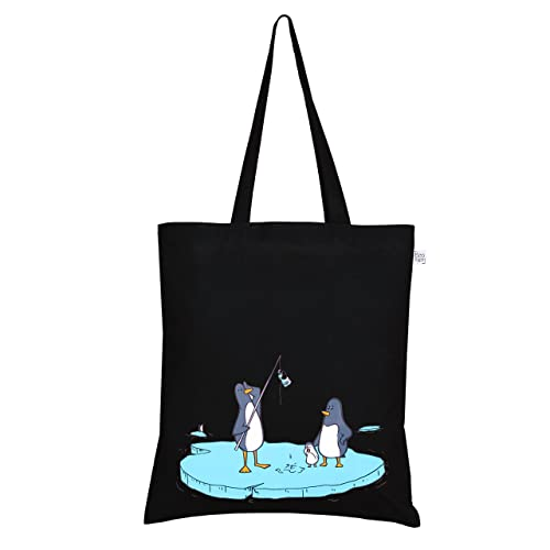EcoRight Tote Bag 100% Cotton Canvas Reusable EcoFriendly  Printed quot Confused Penguins quot  ... 45e8b8a10e6a6