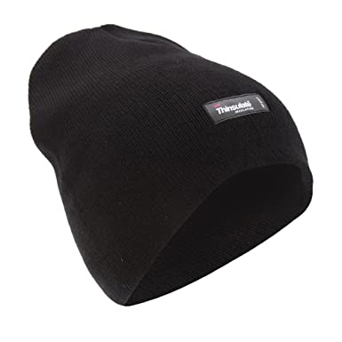 9a8f885edee54 Mens Plain Thinsulate Thermal Winter Beanie Hat (3M 40g) (One Size)  (Black)  Amazon.co.uk  Clothing