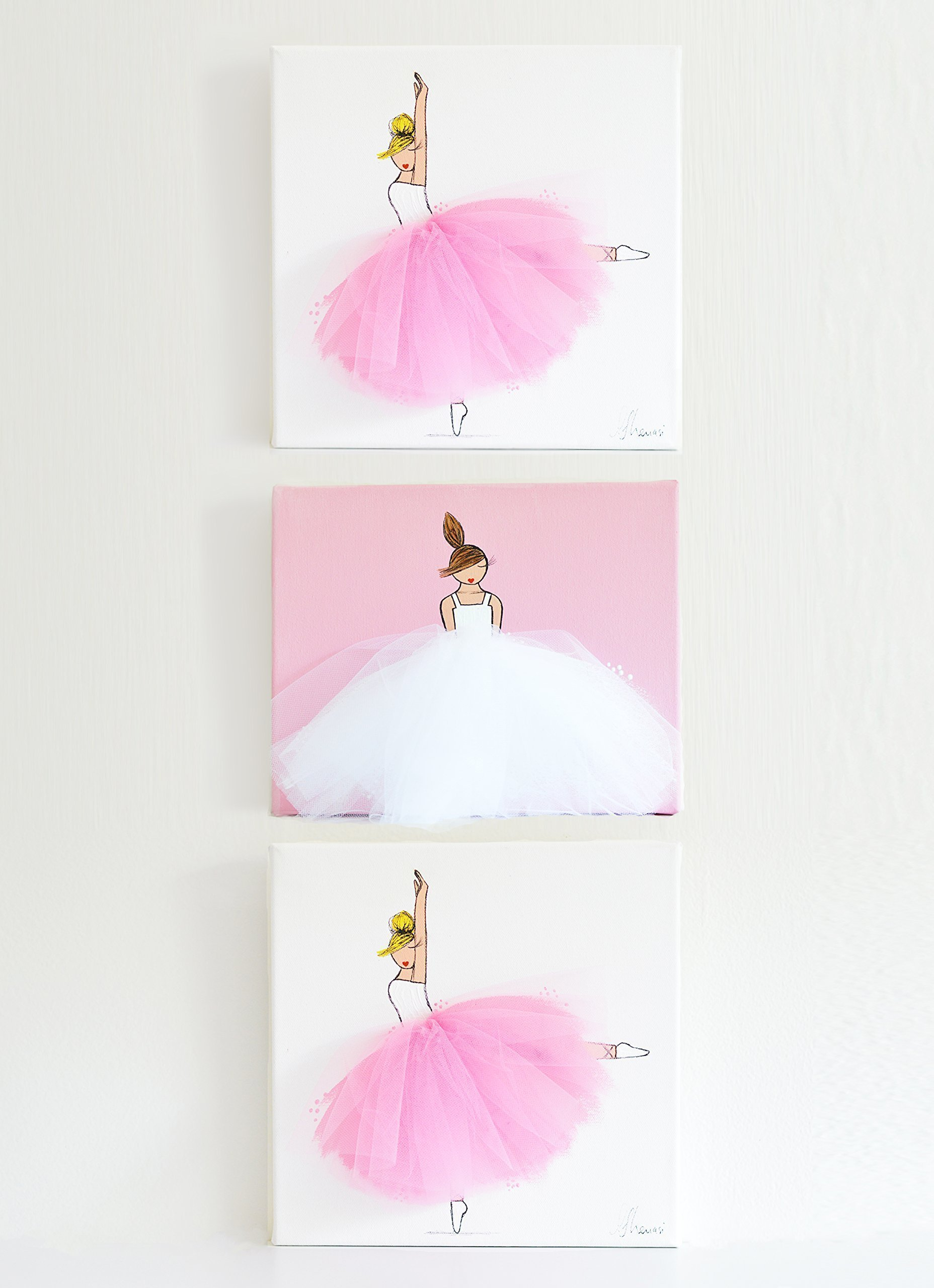 Ballerina nursery wall art, pink nursery decor for girls, art frames for baby room