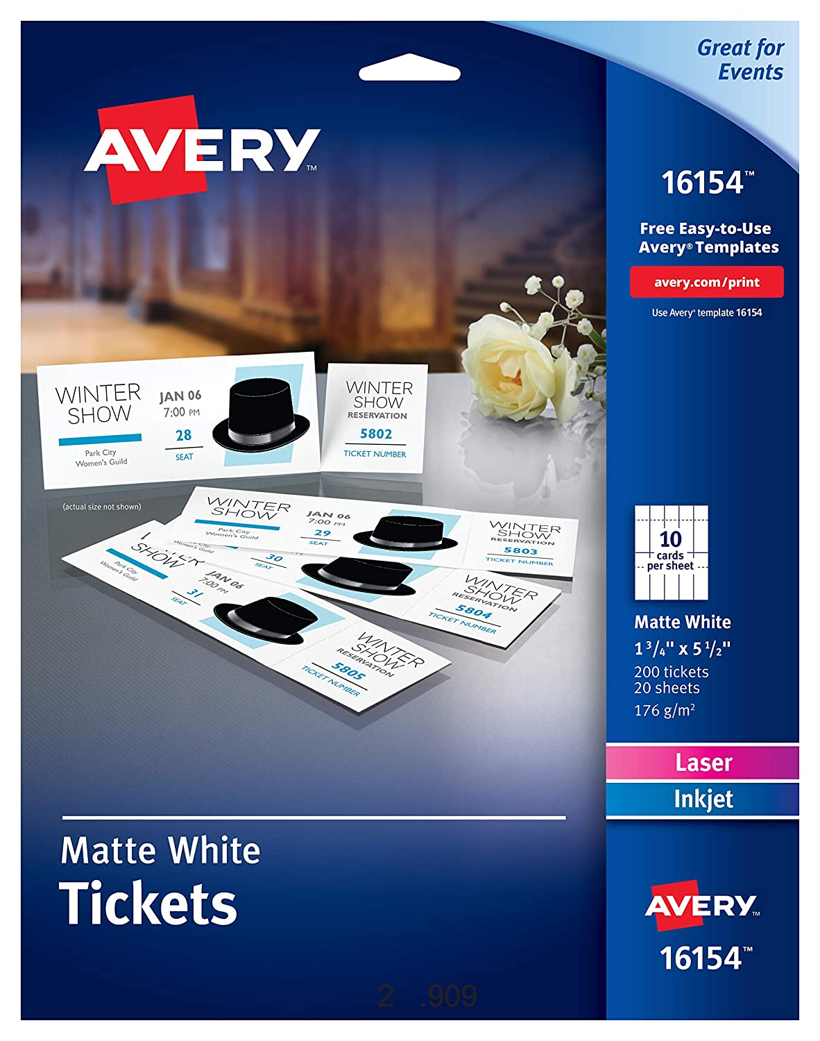 Avery Tickets with Tear-Away Stubs, 1.75