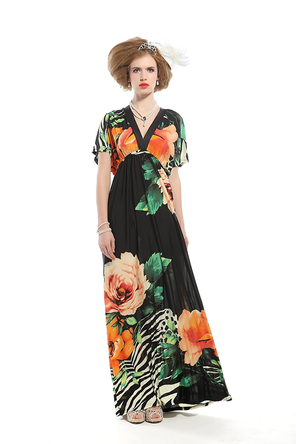 Pattern dress with a sleeve bat again in demand by women of fashion