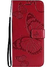 Lomogo Funda [Huawei Mate 20 Pro], Funda de Cuero con Cartera para Tarjetas y Cierre Magnetico Soporte Plegable Carcasa Libro Antigolpes para Huawei Mate 20Pro - LOKTU24375 Rojo