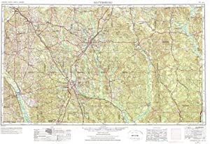 YellowMaps Hattiesburg MS topo map, 1:250000 Scale, 1 X 2 Degree, Historical, 1953, Updated 1976, 22 x 32.1 in