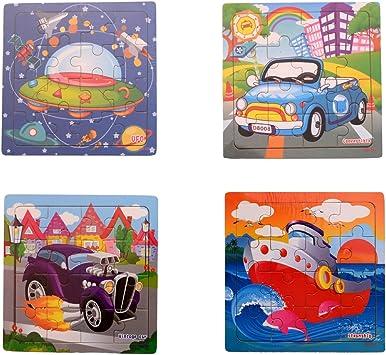 Montez 16 Pieces Wood Jigsaw Puzzles for Children (Pack of 8) (14.75 cm x14.75 cm)