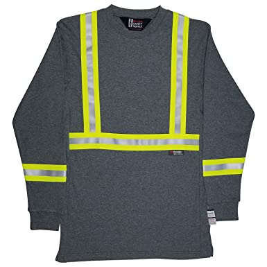 170ad0839b7 Amazon.com  Oil and Gas Safety Supply Men s FR Reflective Long Sleeve  Shirt  Clothing