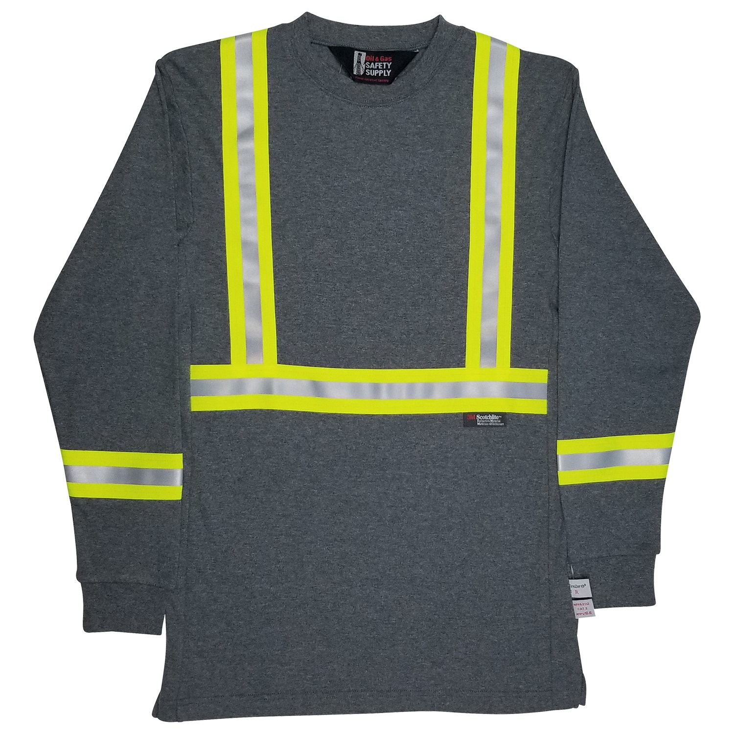 Oil and Gas Safety Supply Men's FR Reflective Long Sleeve Shirt XL Gray