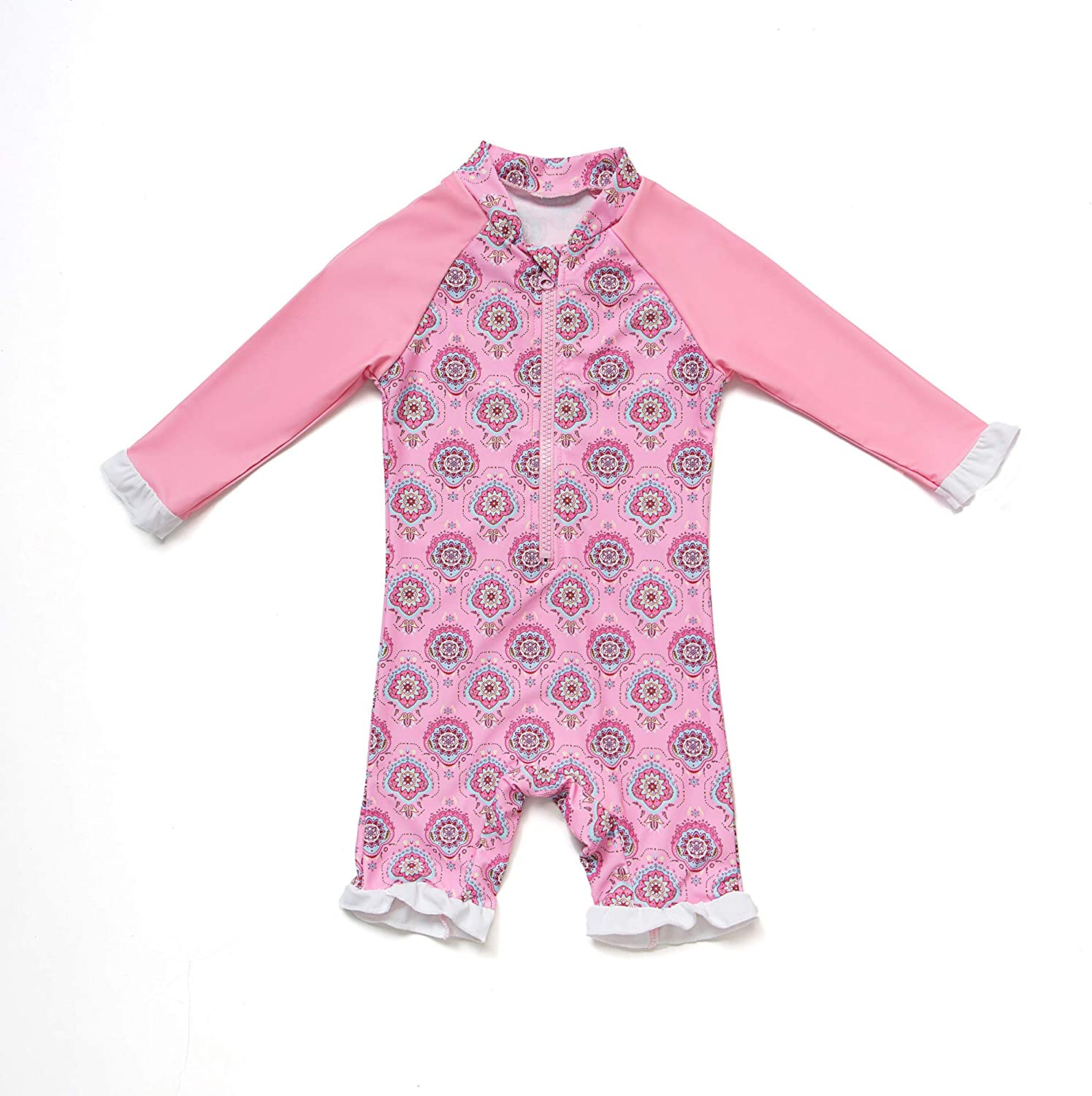 Baby Girls Sunsuit UPF 50+ Sun Protection One Pieces Long Sleeves Swimwear with Sun Hat(Pink Pattern,24 36Months)
