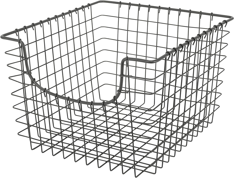 Spectrum Diversified Scoop Wire Basket, Vintage-Inspired Steel Storage Solution for Kitchen, Pantry, Closet, Bathroom, Craft Room & Garage, Medium, Industrial Gray