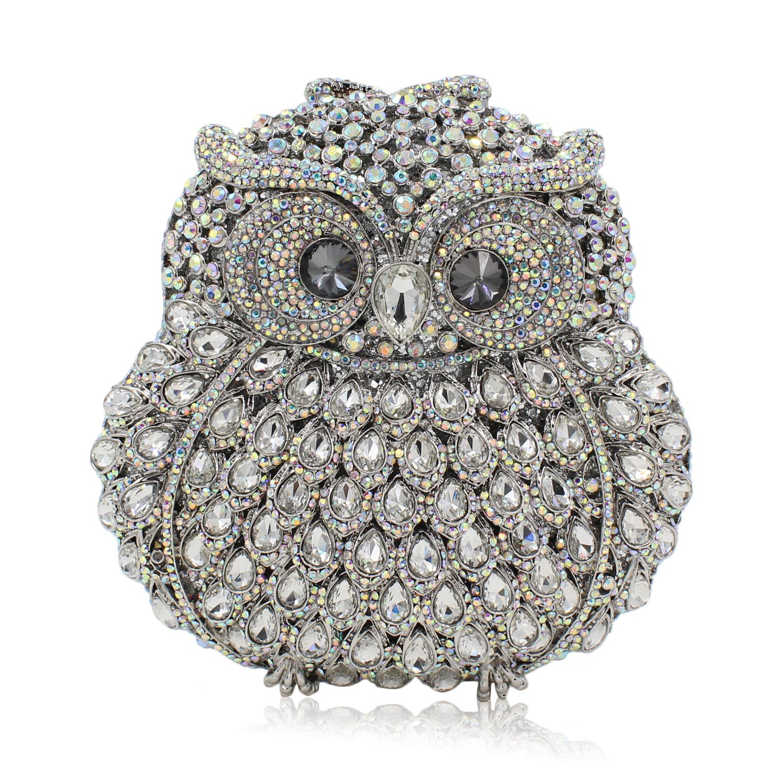 Rhinestone Owl Purse Clutch Handbag Prom Wedding Party Evening Bag for Women Crossbody Shoulder Bag (Silver)