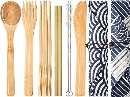 2 Juegos de Cubertería de Bambú Reutilizable Juego de Cubiertos de Viaje con Caja, Tenedores Cuchillos Palillos Cucharas Pajas y Cepillos, Juego de ...