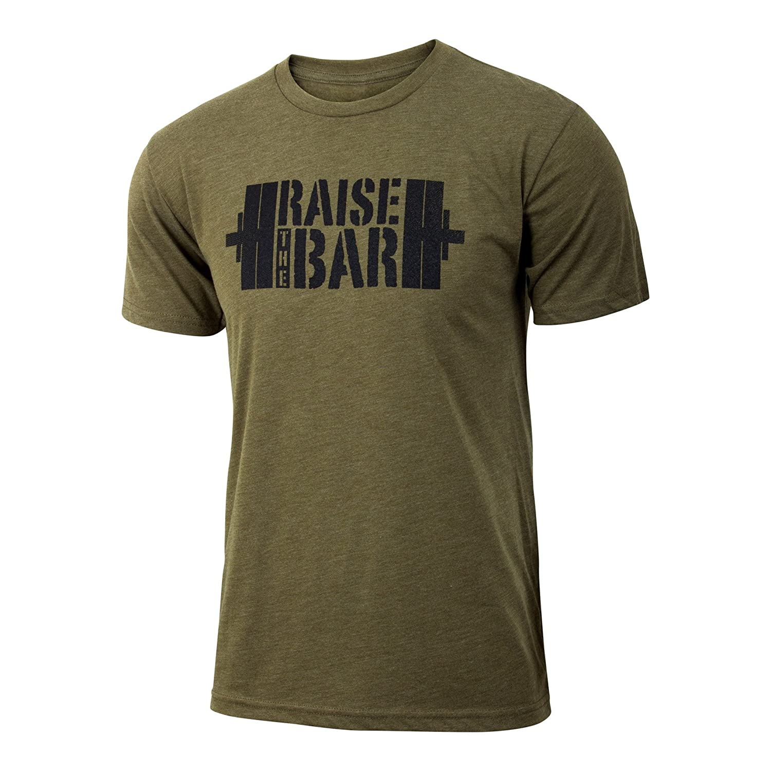 Jumpbox Fitness Raise The Bar Military Green Men S Barbell Weightlifting Triblend Workout Shirts