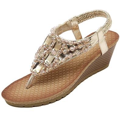 Meeshine Womens Wedge Sandal Platform Rhinestone Dress Sandals Bohemia Shoes  B0721SM9DP