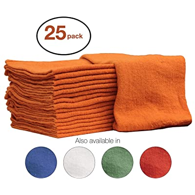 Nabob Wipers Auto-Mechanic Shop Towels, Shop Rags 100% Cotton Commercial Grade Perfect for Your Garage, Auto Body Shop & Bar Mop (12x12) inches, 25 Pack, (Orange): Home & Kitchen