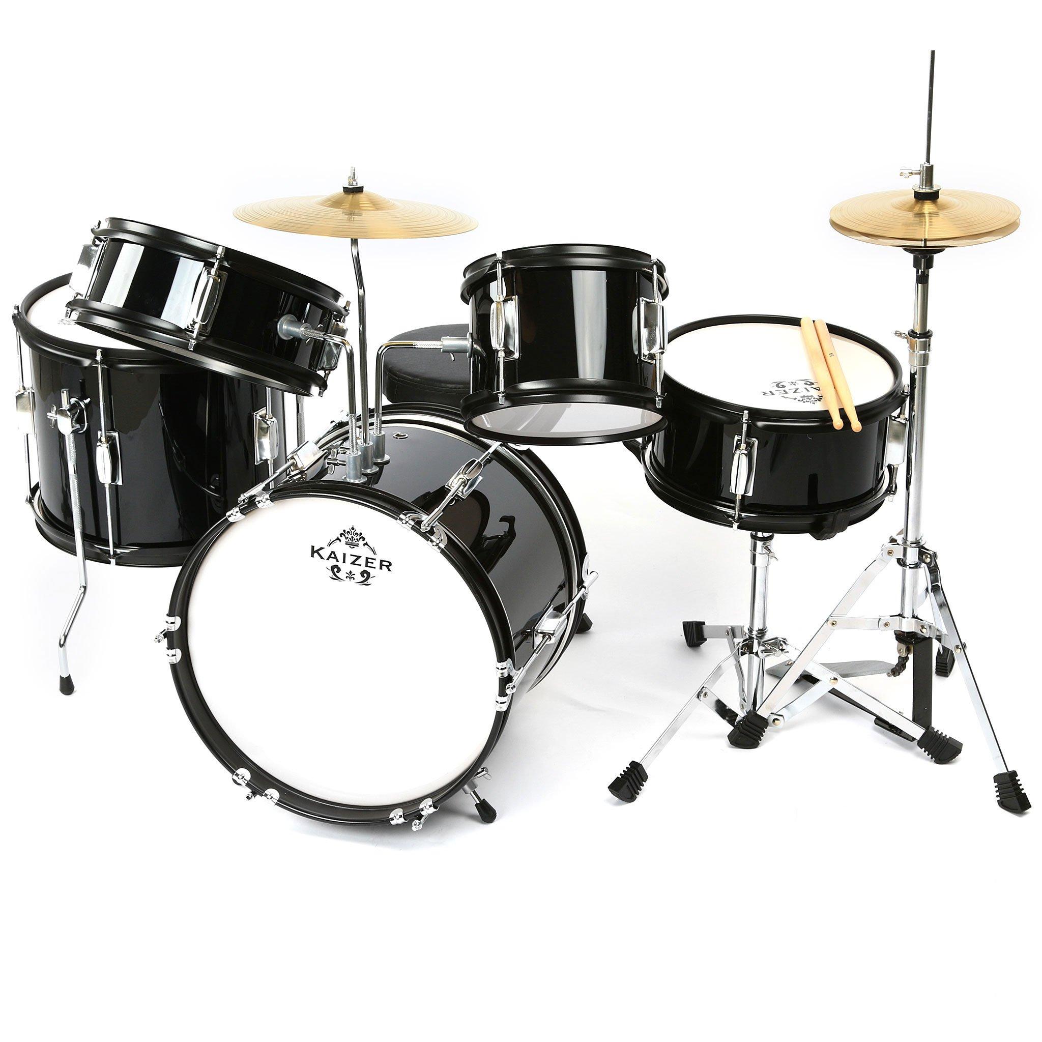 Kaizer Junior Kids Drum Set 5 pc Black Metallic JDRMS5-1000BK