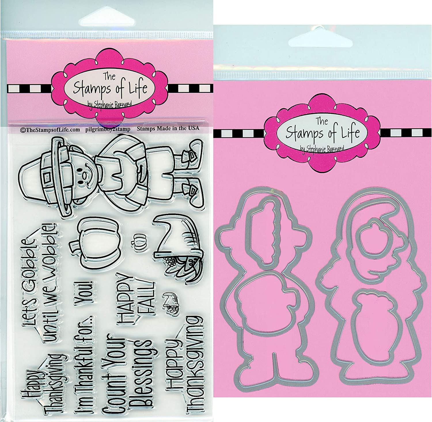 PilgrimGirl2Stamp Thanksgiving Pilgrim Girl Stamps for Card-Making and Scrapbooking Supplies by The Stamps of Life