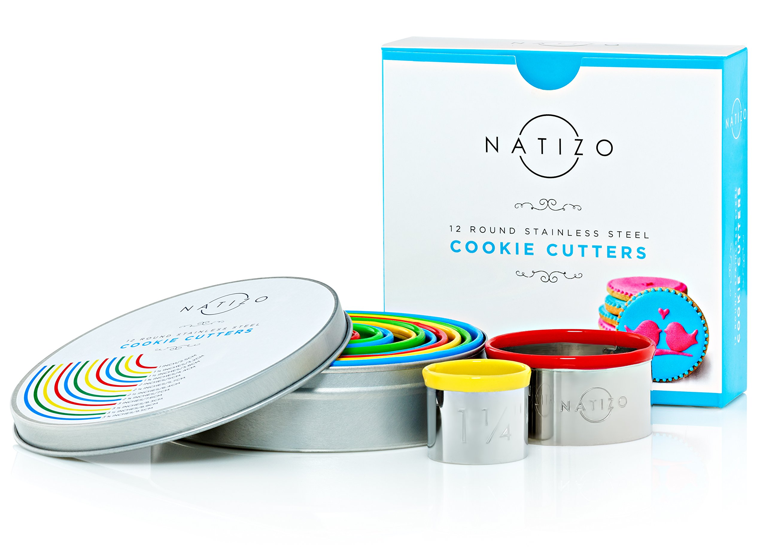 Natizo 12 Piece Round Stainless Steel Cookie Cutter Set - Size On Every Cutter - Silicone Tops by Natizo (Image #7)