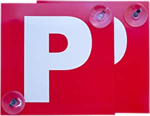 2 Pack Probationary P Plates Plastic Suction Cups Red