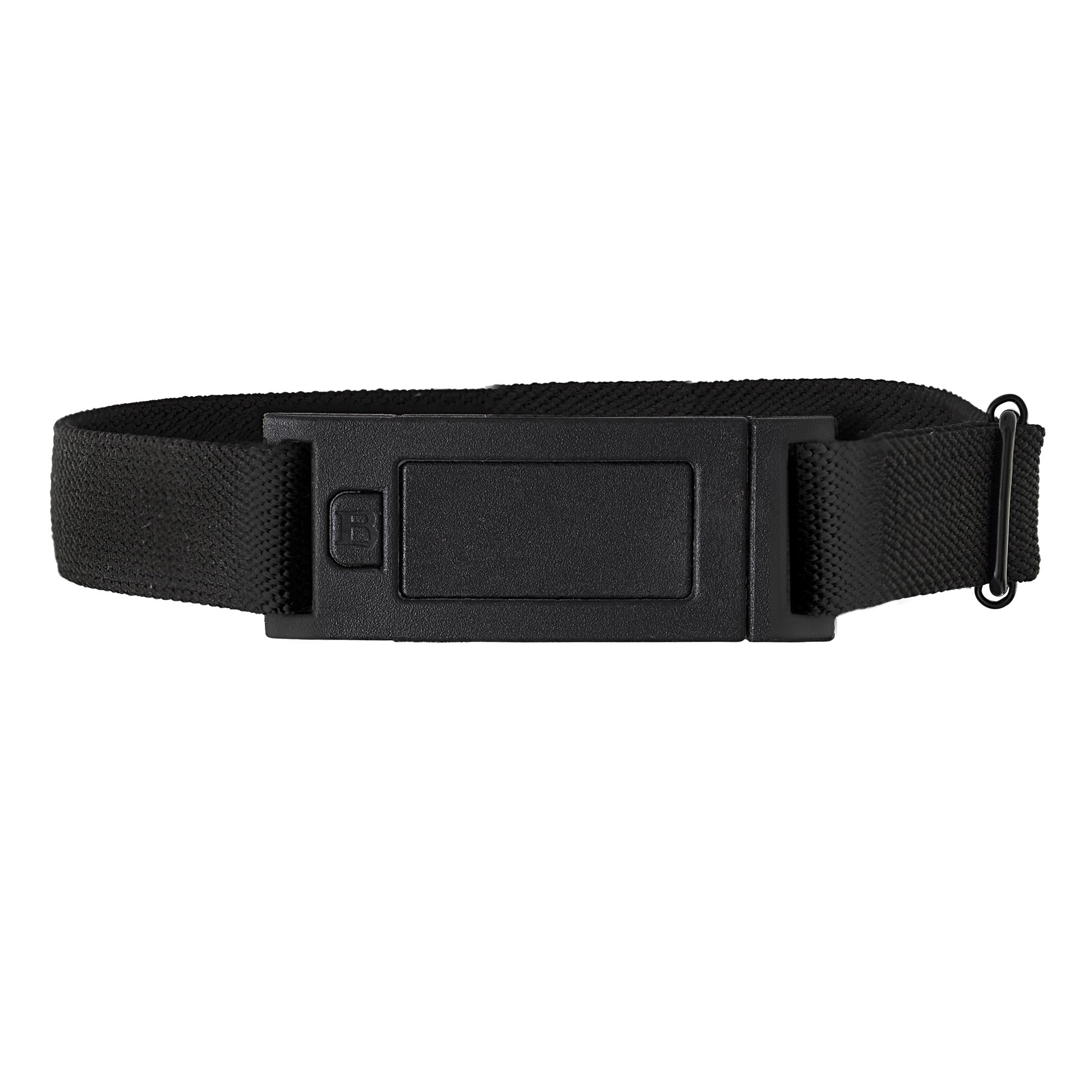 Beltaway NARROW Woman's Flat Buckle Belt, Adjustable Stretch Belt BLACK One Size (0-14)