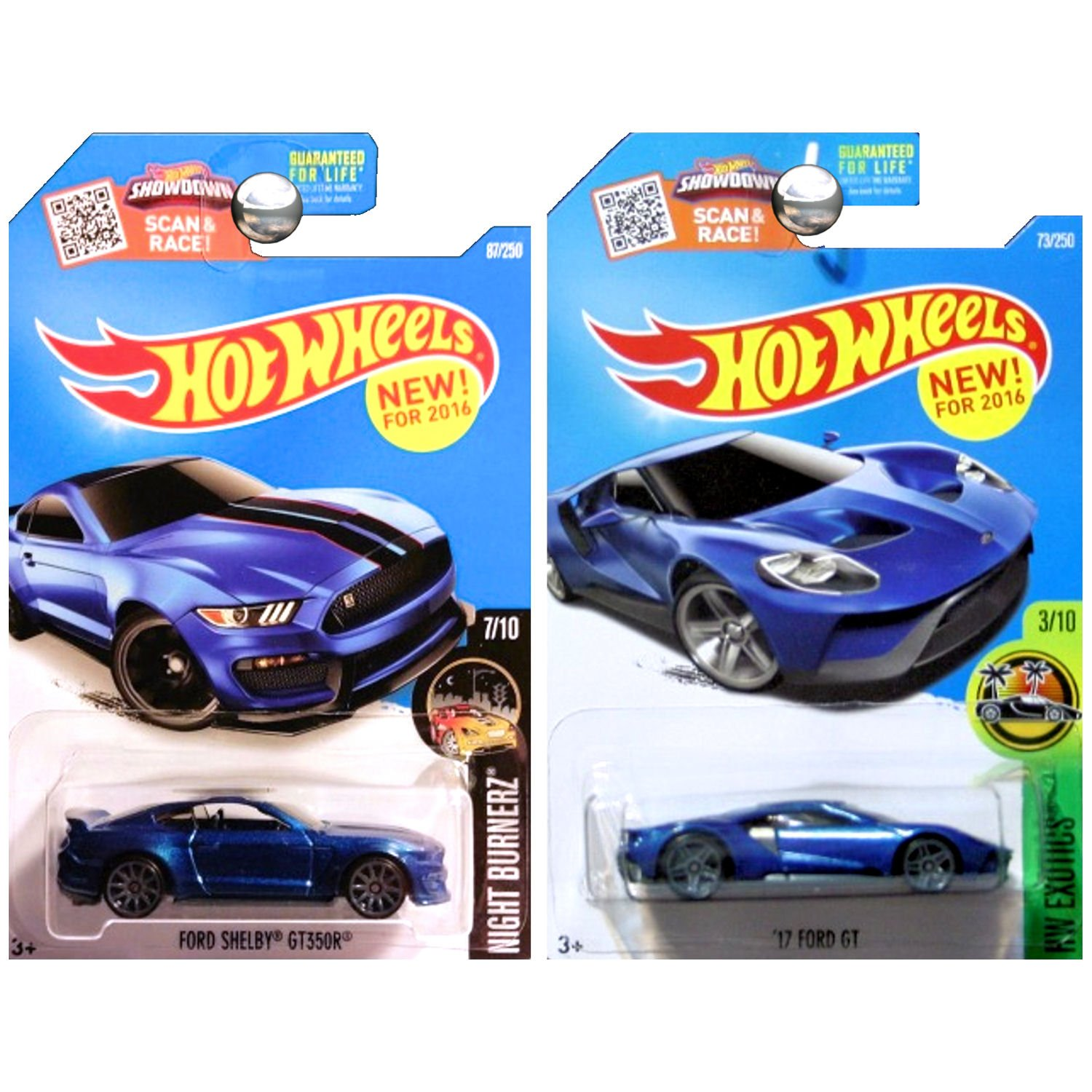 Amazon com hot wheels 17 ford gt and ford mustang shelby gt350 gt350r in blue set of 2 toys games