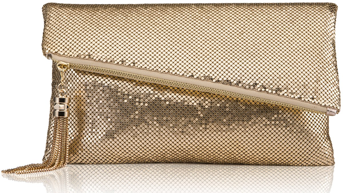 ROVOYCE Envelope Clutch Foldover Bling Metal Mesh Oversized Evening Purse with Metal Tassel (Gold)
