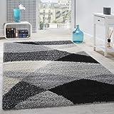 Alfombra Shaggy Pelo Alto Pelo Largo Estampada En Gris Negro Blanco, tamaño:160x220 cm