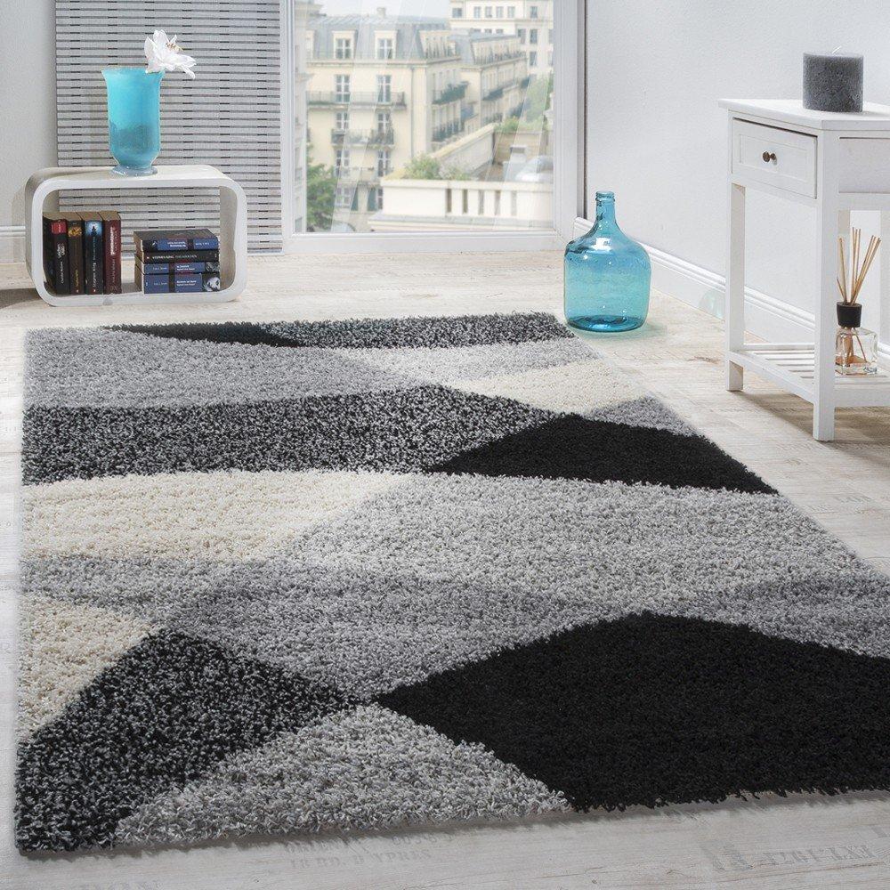 Paco Home Shaggy Teppich Hochflor Langflor Weich Geometrisch Gemustert Grau Schwarz, Grösse:200x280 cm