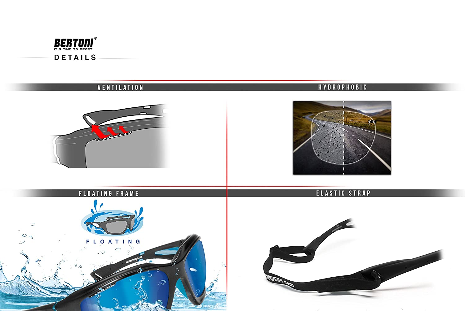 9c7e23dc1717f Amazon.com  Bertoni Polarized Sports Sunglasses with Hydrophobic Lens for  Cycling MTB Fishing Watersports Ski Running Golf - by Italy P1000 Windproof  ...