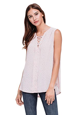 d09ffee138df7d Pleione Sleeveless V Neck Pleated Floral Blouse Top with Criss Cross Lace  Front PINKSTONE S