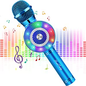 FishOaky Karaoke Microphone[Updated], Kids Wireless Bluetooth Karaoke Microphone Portable Mic Player Speaker with LED for Christmas Birthday Home Party KTV Outdoor