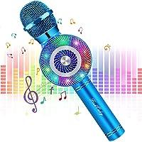 Micrófono Karaoke Bluetooth, FISHOAKY 4 en1 Microfono Inalámbrico Altavoces con Luces LED, Portátil Karaoke para Niños…