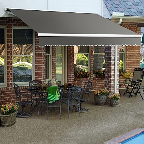 8 ft. Galveston Semi-Cassette Manual Retractable Awning 78 in. Projection Gray
